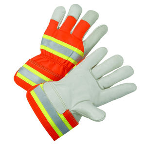 Leather Palm Gloves - West Chester HVO5000, Hi-Viz Smooth Leather Gloves, Safety Cuff, Reflective, 12 Pair