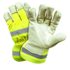 Leather Palm Gloves - West Chester HVY5555 Hi-Viz Leather Gloves, Pigskin, Reflective Safety Cuff, 12 Pair