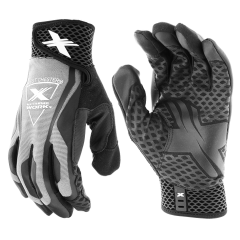 Mechanics Gloves - West Chester 89302GY, Extreme Work LocX-On Grip, Touchscreen Gloves, Pair
