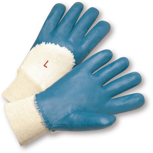 "Nitrile Coated Gloves - West Chester 4060 Knit Wrist Light Nitrile Palm Coated, Interlock Lining, 3/4"" Coating Back Of Hand"