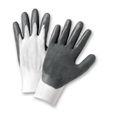 Nitrile Coated Gloves - West Chester 713SNC, White/Gray Nitrile Coated Gloves, 12 Pair