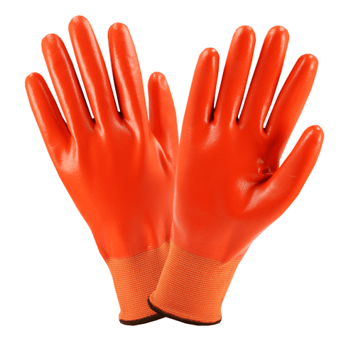 Nitrile Coated Gloves - West Chester 715SNFFO PosiGrip Hi-Viz Orange Full Nitrile Dipped Gloves, 12 Pair