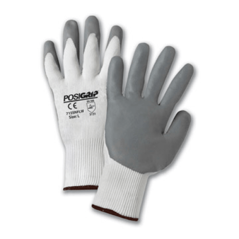 Nitrile Coated Gloves - West Chester 715SNFLW PosiGrip White Gloves With Gray Nitrile Palm, 12 Pair