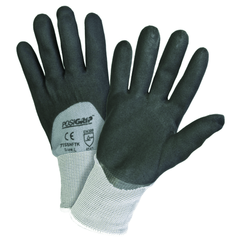 Nitrile Coated Gloves - West Chester 715SNFTK PosiGrip 3/4 Dipped Nitrile Foam Gloves, 12 Pair
