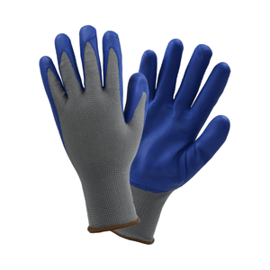 Nitrile Coated Gloves - Westchester-37185 Grey Polyester, 13 Gauge Shell, Blue Foam Nitrile Coated