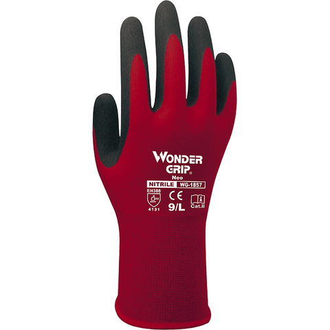 Nitrile Coated Gloves - Wonder Grip Neo WG-1857 Nitrile Coated Nylon Microfiber Light Duty Glove 12PK