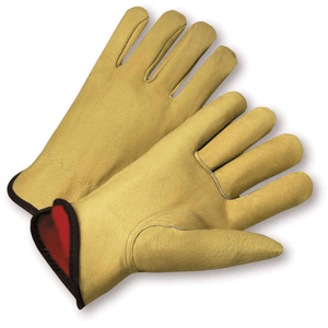 Pigskin Drivers Gloves - LEATHER GLOVE, DRIVER, 9940KF, PIGSKIN, FLEECE LINED, KEYSTONE THUMB, 12PK