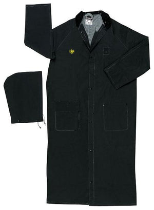 "Rain Wear - MCR Safety Classic Plus FR267C 60"" Black Rider Coat, Limited Flammability, Each"