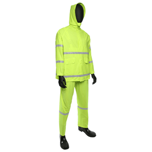Rain Wear - West Chester 4031 Fluorescent Lime Green/w Reflective Stripes - 35ml PVC Over Polyester 3pcs Rain Suit, Class 1