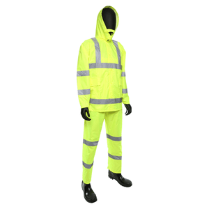 Rain Wear - West Chester 4033 Hi-Viz Poly Oxford/PU Coated 3pc Rain Suit, Class 3