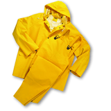 Rain Wear - West Chester 4035 35ml PVC Over Polyester 3pcs Rain Suit, Detachable Hood - Yellow