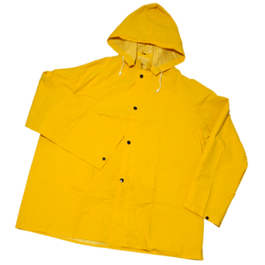 Rain Wear - West Chester 4036 35 Mil PVC Over Polyester Jacket, Detachable Hood - Yellow