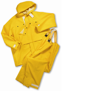 "Rain Wear - West Chester 4040 Yellow ""Master Shield"" 35ml 2 Pcs PVC Over Polyester, Velcro Closures - Front Ankles, Wrist & Hood"
