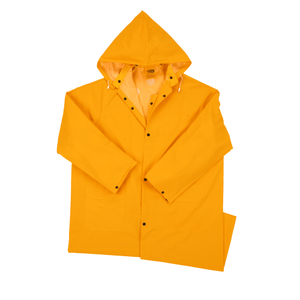 "Rain Wear - West Chester 4148 35ml PVC Over Polyester 48"" Raincoat, Detachable Hood - Yellow"