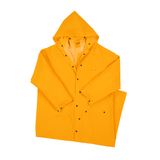 "Rain Wear - West Chester 4160 60"" Rider Coat, .35mm PVC Over Polyester, Detachable Hood - Yellow"