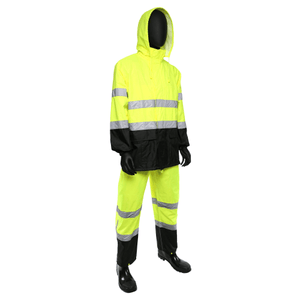 Rain Wear - West Chester 4530 Class 3 Hi-Viz 3 Pc Rain Suit W/ Black Bottom