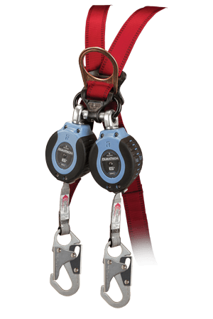 Self-Retracting Devices - FallTech 82706TB1 6' Web SRD Twin-Leg, Triple-lock Carabiner, Alignment Clip, Steel Snap Hooks