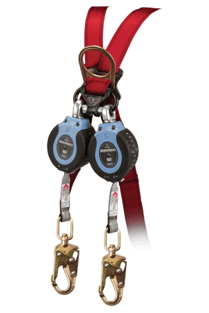 Self-Retracting Devices - FallTech 82706TB2 6' Web SRD Twin-Leg, Triple-lock Carabiner, Steel Swivel Snap Hooks
