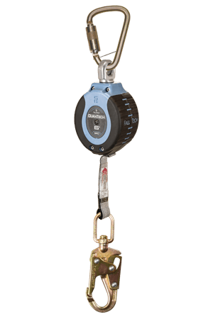 Self-Retracting Devices - FallTech DuraTech 82706SB2 6' Compact Web SRD; Steel Carabine, Steel Snap Hook