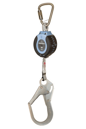 Self-Retracting Devices - FallTech DuraTech 82706SB3 6' Compact Web SRD; Steel Carabiner, Steel Rebar Hook