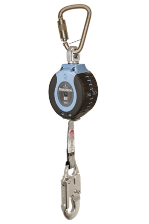 Self-Retracting Devices - FallTech DuraTech 82706SB4 6' Compact Web SRD; Steel Carabiner, Aluminum Snap Hook
