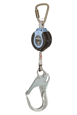 Self-Retracting Devices - FallTech DuraTech 82706SB5 6' Compact Web SRD; Steel Carabiner, Aluminum Rebar Hook