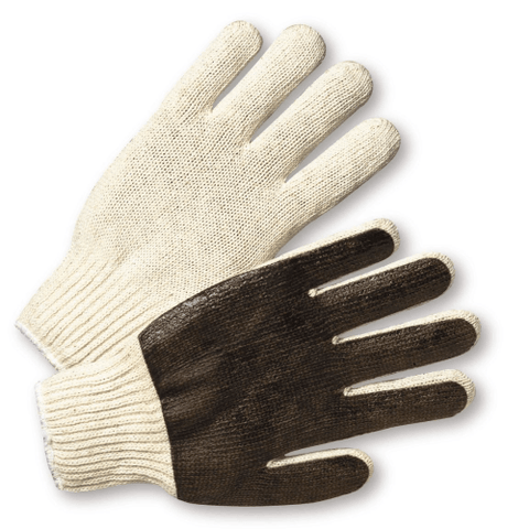 String Knit Gloves - West Chester K708SPC, String Knit Gloves, Brown PVC Coated Palm, 12 Pair