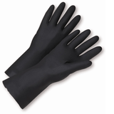 "Unsupported Gloves - Neoprene Gloves, West Chester 32212, 12"" 28 Mil Flock Lined Black W/ Honeycomb Grip, 12 Pair"