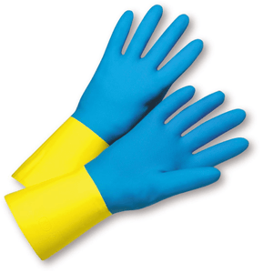 Unsupported Gloves - West Chester 33224 22mil Blue Neoprene Over Yellow Latex- Economy