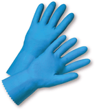 Unsupported Gloves - West Chester 33313 18 Mil Flock Lined Blue Latex, Rolled Cuff, Bulk Packaged - Economy