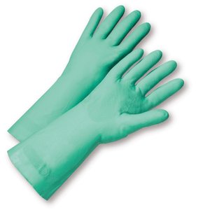 Unsupported Gloves - West Chester 33418 15mil Flock Lined Green Nitrile, Bulk Packaged - Economy