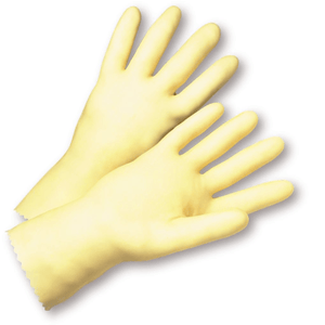 Unsupported Gloves - West Chester 3343 16mil Unlined Amber Latex, Rolled Cuff, Bulk Packaged - Economy