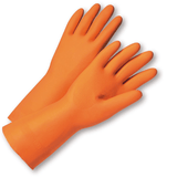 Unsupported Gloves - West Chester PosiGrip 2208 28 Mil Flock Lined Orange Latex, Cleaning Gloves 12 Pair