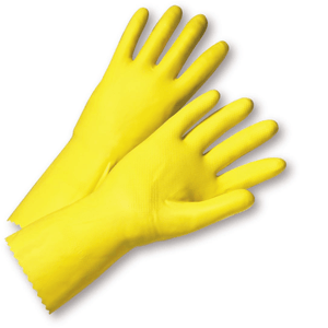 Unsupported Gloves - West Chester PosiGrip 2312 18 Mil Flock Lined Yellow Latex, 12 Pair