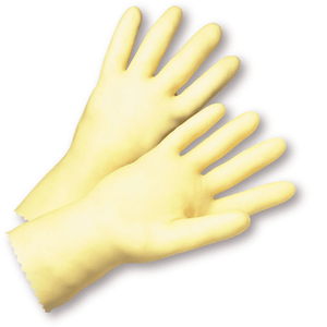 Unsupported Gloves - West Chester PosiGrip 2343 18mil Unlined Amber Latex, 12 Pair