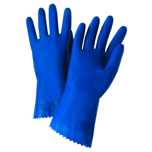 Unsupported Gloves - West Chester52L101 18mil Unlined Blue Latex, Pinked Cuff-Bulk Packaged