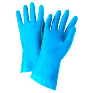 Unsupported Gloves - West Chester52L102 21 Mil Flock Lined Blue Latex, Rolled Cuff-Individually Packaged - Premium Posi Grip