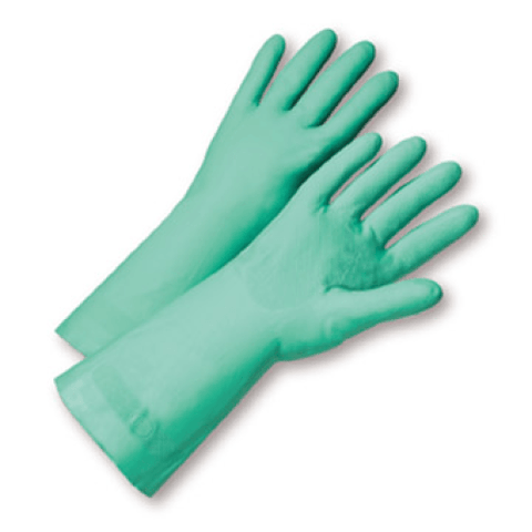 "Unsupported Gloves - West Chester52N102 22 Mil Unlined Green Nitrile 18"" Length, Individually Packaged - Premium Posi Grip -"