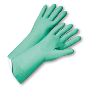Unsupported Gloves - West Chester52N104 18mil Flock Lined Green Nitrile, Individually Packaged - Premium Posi Grip -
