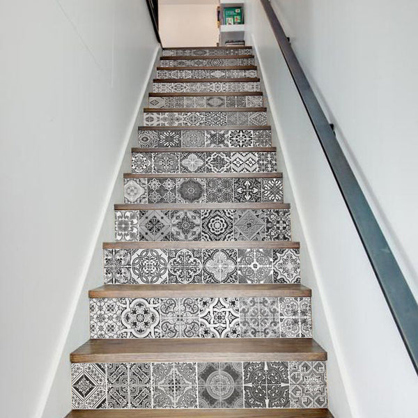 13 Pieces/Set Creative DIY 3D Stairway Stickers Ceramic Tiles Pattern for House Stairs Decoration Large Staircase Wall Sticker