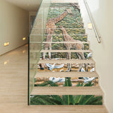 13 Pieces/Set Creative DIY 3D Stairway Stickers Giraffe Ceramic Tiles Pattern for House Stairs Decoration Staircase Wall Sticker