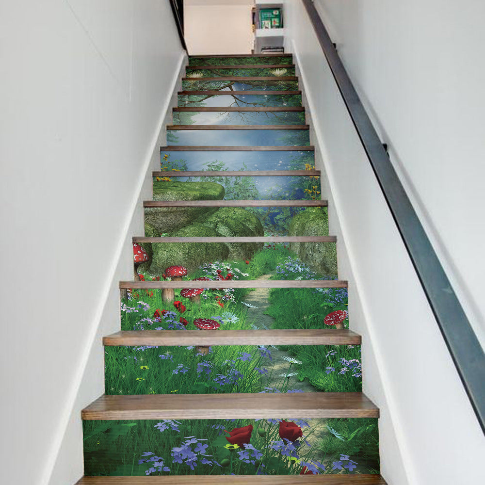13 Pieces/Set Creative DIY 3D Stairway Stickers Magic Forest Pattern for House Stairs Decoration Staircase Wall Sticker