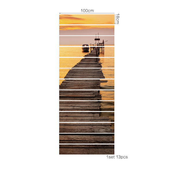 13 Pieces/Set Creative DIY 3D Stairway Stickers Sunset Harbor Pattern for House Stairs Decoration Big Staircase Wall Sticker