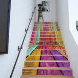 13PCS/set Creative DIY 3D Stairway Stickers Color Board Pattern for Room Stairs Decoration Floor Wall Sticker Staircase Decal