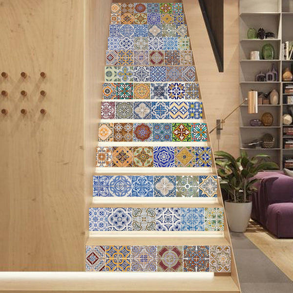 13pcs 3D self - adhesive Stairway Stickers Tile DIY Ceramic Geometric Pattern for Room Stairs Decoration Home Floor Wall Sticker