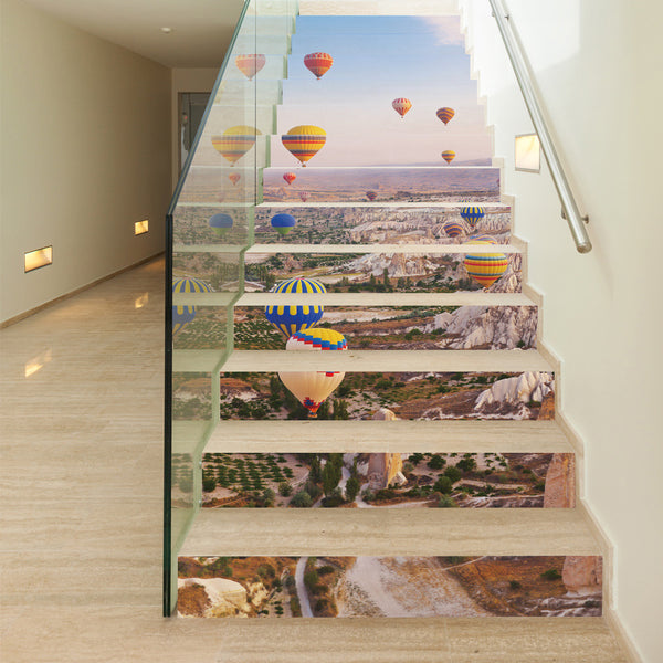 13pcs/set 3D Hot Air Balloon Stairs Sticker Mural DIY Landscape Home Stairs Wall Sticker Paper for Living Room Decor