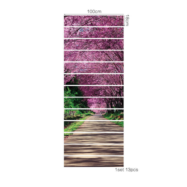 18*100cm 13pcs DIY creative Cherry blossoms small road landscape wall decal for stairs 3D stair sticker home decor poster