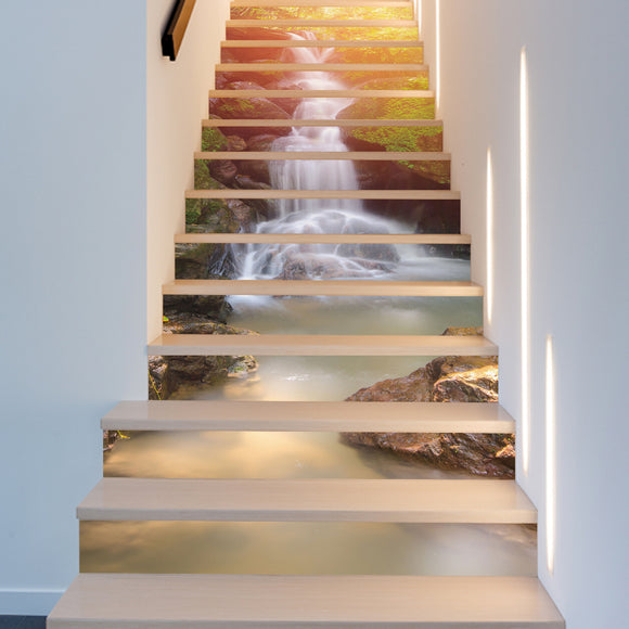 18*100cm 13pcs DIY creative sunshine waterfall wall decal for stairs 3D vinyl waterproof stair sticker home decor poster