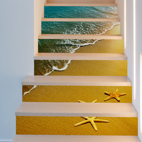 18*100cm 6pcs DIY creative beach starfish wall decal for stairs 3D PVC waterproof stair sticker home decor poster
