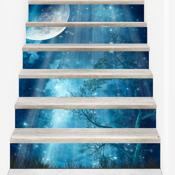 18*100cm 6pcs DIY creative forest moon wall decal for stairs 3D vinyl waterproof stair sticker home decor poster